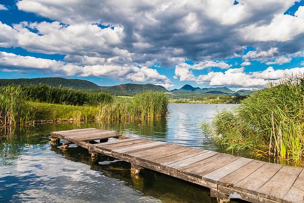 Sunny day at Velenje Lake