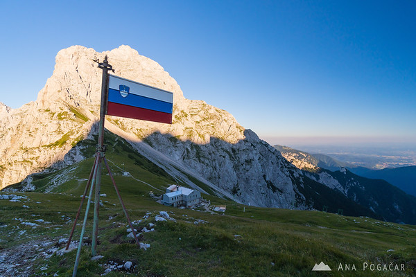 Slovenian flag at the Kamnik Saddle