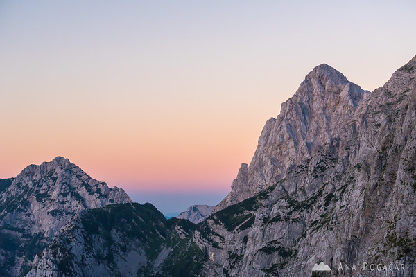 Mt. Ojstrica from the Kamnik Saddle after sunset