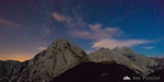 Night sky over the Kamnik Alps as seen from the climb to Mt. Planjava