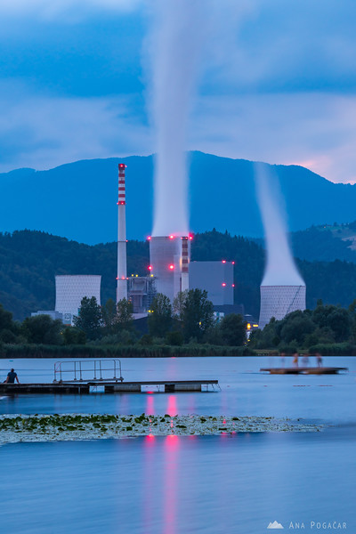 TEŠ thermal power plant during blue hour