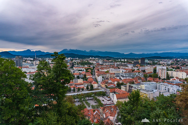 Views from Ljubljana Castle on a cloudy summer afternoon