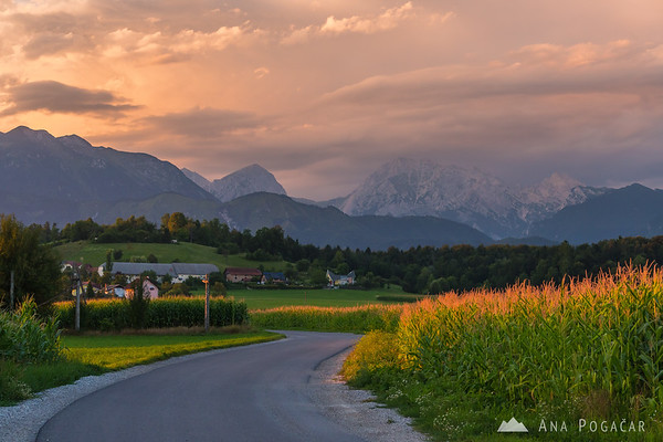 Intense sunset colors above the Kamnik Alps