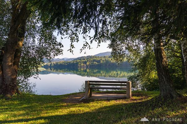 Around Velenje Lake on a sunny summer morning