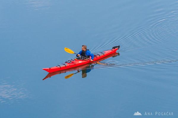 A kayaker in flooded Rakov Škocjan