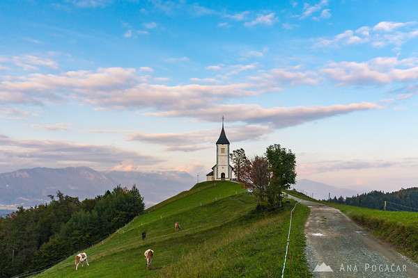 Jamnik church at sunset
