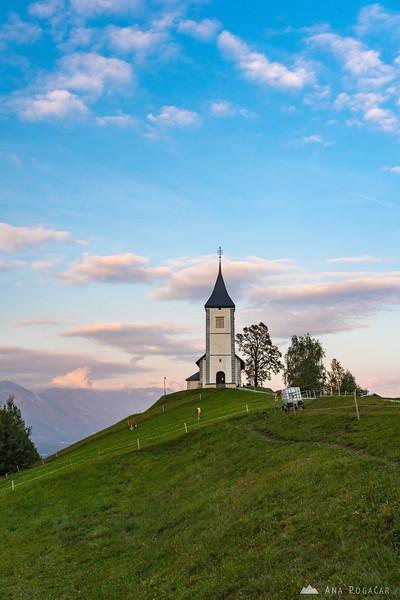 Jamnik church at sunset