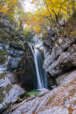 Mostnica waterfall in the Voje valley