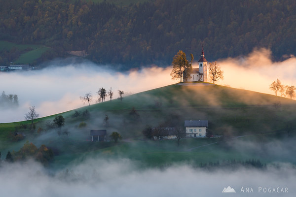 St. Thomas church on a sunny but misty morning