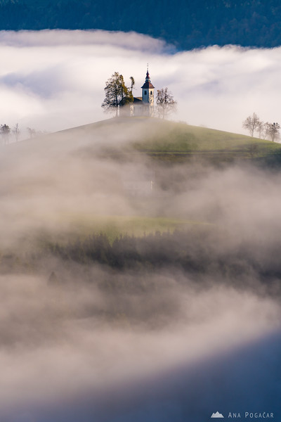 St. Thomas church on a sunny but misty morning