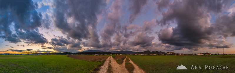 Panorama of dramatic clouds over Kamnik after sunset