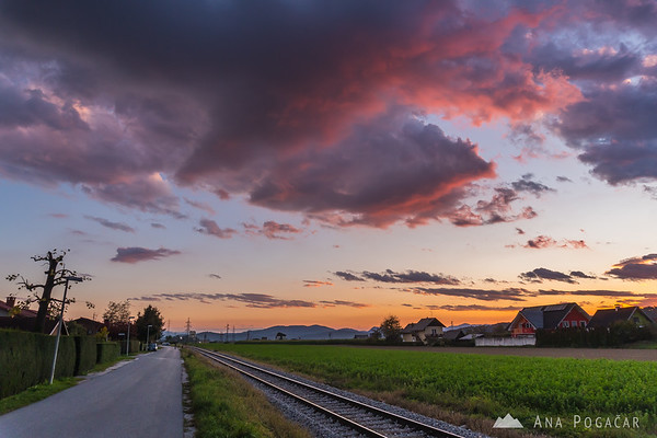 Sunset clouds above Kamnik