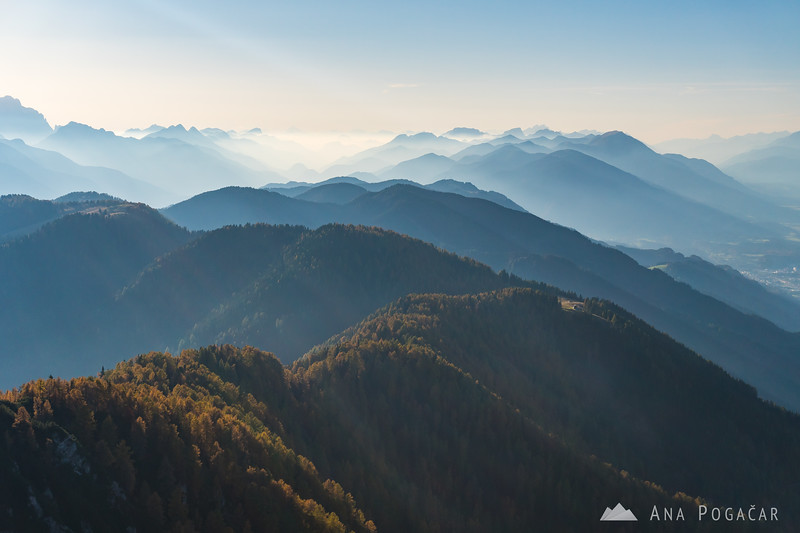 Layers of mist and smog from Mt. Trupejevo poldne