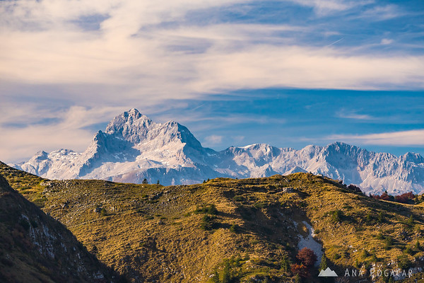 Mt. Triglav from Lajnar on a sunny fall day