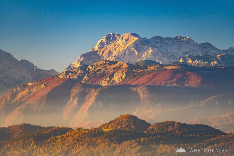 Mt. Planjava and Velika planina from Katarija before sunset