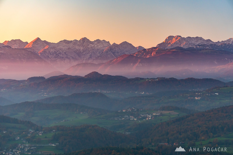 The Kamnik Alps from Katarija at sunset