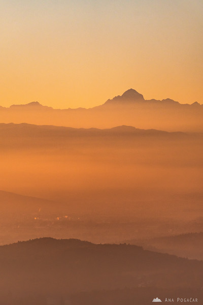 Mt. Triglav from a hill above Moravče at sunset