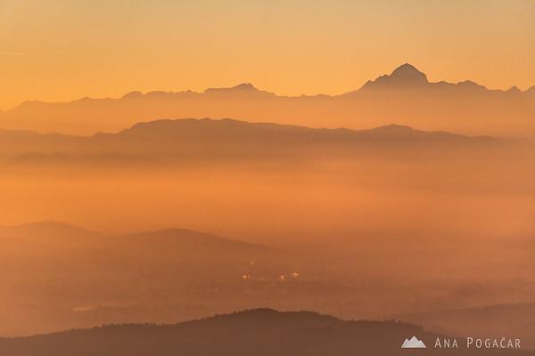Mt. Triglav from a hill above Moravče at sunset