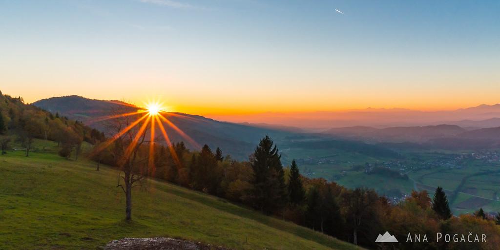 Sunset from a hill above Moravče