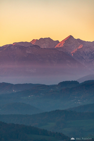 Mts. Kočna and Grintovec from Katarija at sunset