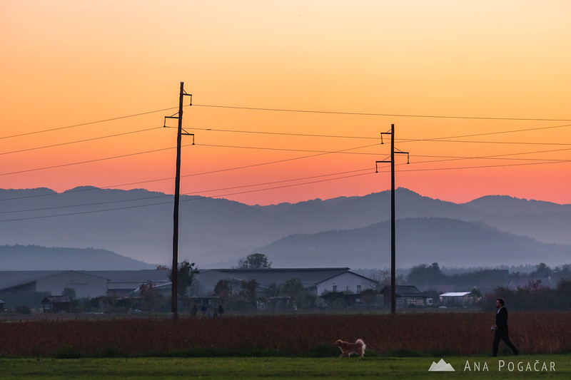 Sunset over fields in Duplica