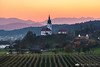 Sunset over the Zaprice orchards and church in Podgorje