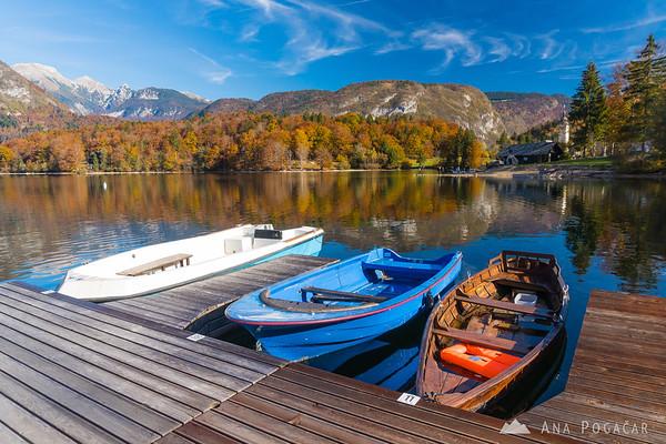 Lake Bohinj marina on a sunny fall morning