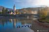 Beautiful morning at misty Lake Bohinj