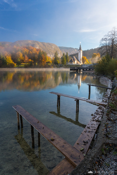Beautiful morning at misty Lake Bohinj