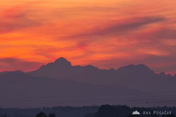 Mt. Triglav and the Julian Alps (and a bird) from Križ at sunset