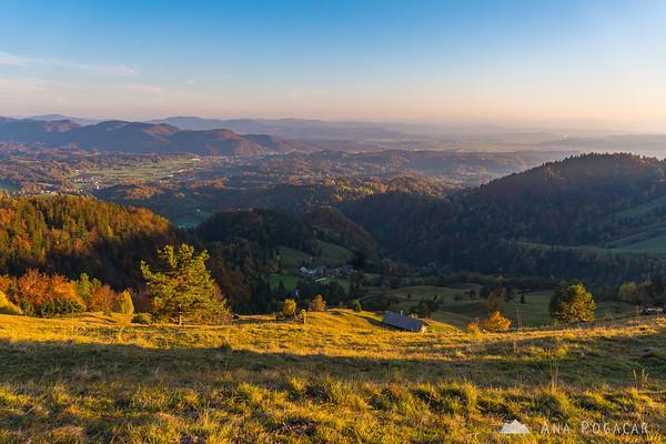 Views from the slopes of Mt. Kamniški vrh towards Kamnik