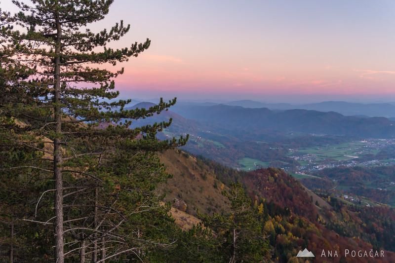 Views from the slopes of Kamniški vrh at dusk