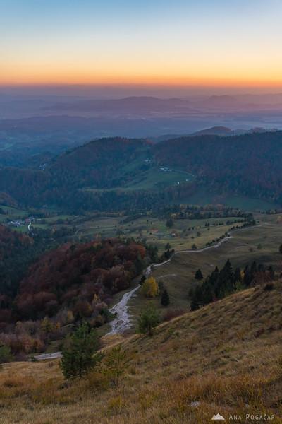 Views from the slopes of Mt. Kamniški vrh at dusk
