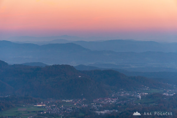 Views from the slopes of Mt. Kamniški vrh towards Kamnik at dusk