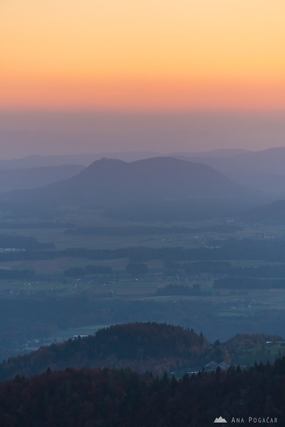 Views from the slopes of Mt. Kamniški vrh towards Šmarna gora at dusk