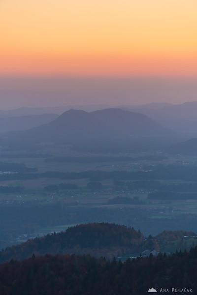 Views from the slopes of Mt. Kamniški vrh towards Šmarna gora at dusk