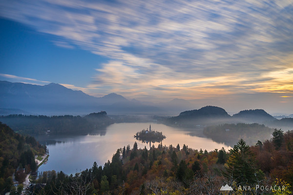 Long exposure of the clouds moving over Lake Bled