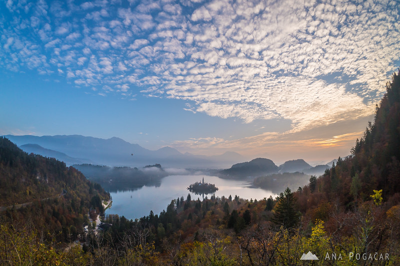 Cool clouds over Lake Bled on an early fall morning