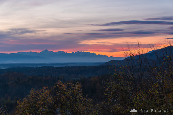 The Julian Alps after sunset from Tunjice