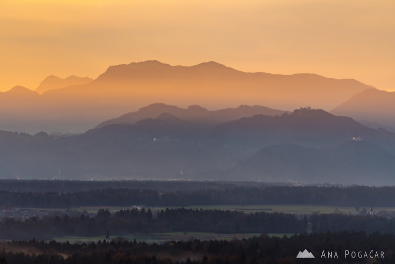 Views towards Kranj from Tunjice