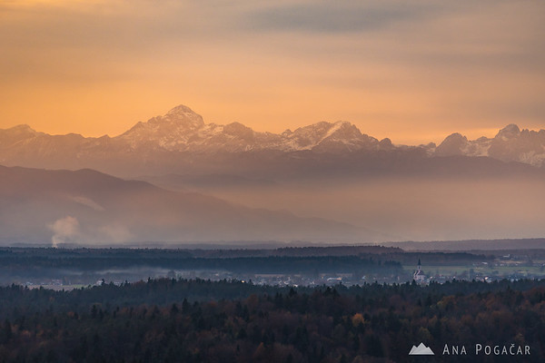 The Julian Alps and Mt. Triglav from Tunjice