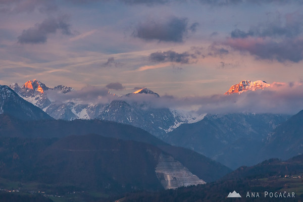 The Kamnik Alps just before sunset