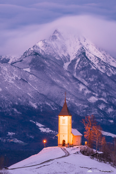 Church in Jamnik at dusk