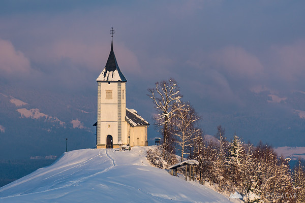 Church in Jamnik on a sunny winter day