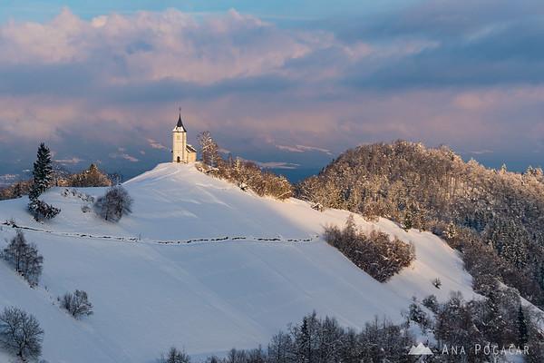 Church in Jamnik on a sunny winter day