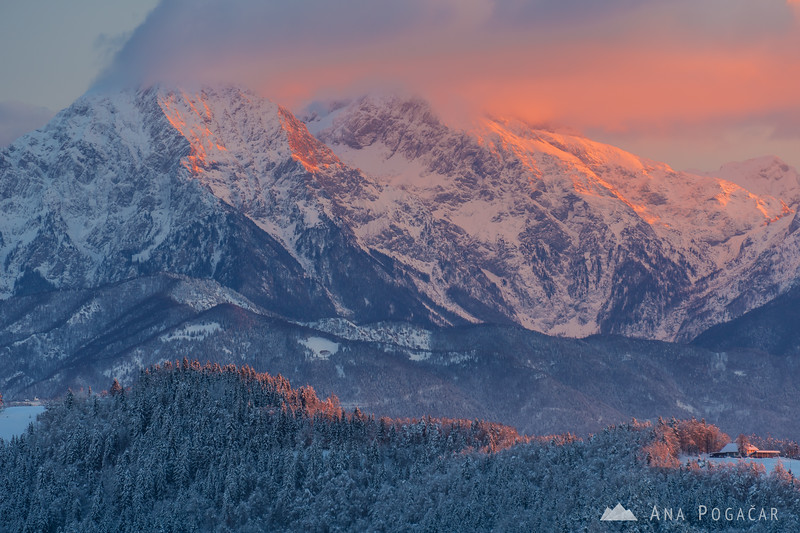 The Kamnik Alps at sunrise on a cold winter day
