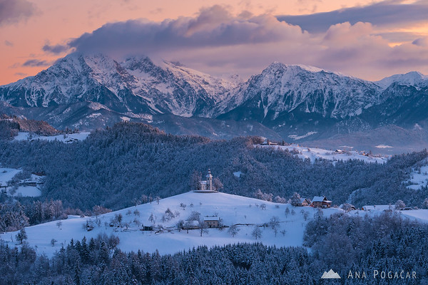 Sv. Tomaz church before sunrise on a cold winter day