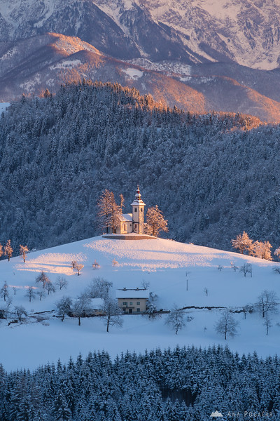 Sv. Tomaz church at sunrise on a cold winter day