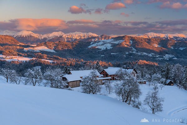 In the hills above Škofja Loka at sunrise on a cold winter day