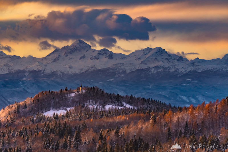 Mt. Triglav and St. Stephen church in the late afternoon light
